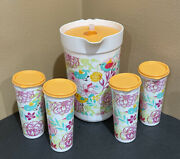 Tupperware Pitcher And Tumblers Set-in Exclusive Decorative Design-new