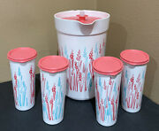 Tupperware Pitcher And Tumblers Set-in Exclusive Decorative Wheat Design-new