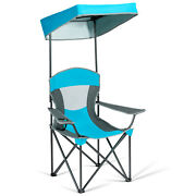 Portable Folding Camping Canopy Chair W/ Cup Holder Cooler Outdoor Blue