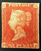 Sg8 1d Penny Red With Red Maltese Cross Very Fine Condition Ex Stanley Gibbons