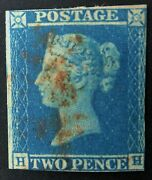 Sg14 2d Blue With Red 1844 Type Bar Cancel Cats From Andpound28000 Ex Stanley Gibbons