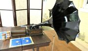 Antique Edison Cylinder Phonograph Morning Glory Horn/ Crane -original And Working
