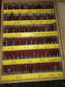 """65 Router / Shaper Table / Cnc / Mill Bits 1/2"""" Nice Case"""