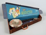 Vintage 1950s Emenee Golden Toy Banjo W/ Box And Instructions Books