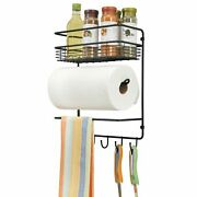 Mdesign Metal Wall Mount Paper Towel Holder With Storage Shelf And Hooks - Black