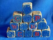 Antique Victorian Lot Of 13 Wood Wooden Alphabet Childs Toy Play Blocks 1 1/2