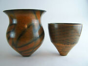 Two Duncan Ross Burnished Vases - Studio Pottery - 16cm And 22cm High