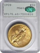 1920 20 Saint Gaudens Double Eagle Pcgs Ms 60 Ogh First Generation