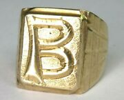 14ct 14k 585 Gold Antique Heavy Signet Ring With Letter And039band039
