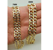 14k Diamond Cut Cuban Curb Link Necklace Chain 8mm 20 -30 Real 14k Solid Gold