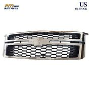 Front Grille Grill Chrome Black Fits Chevy Tahoe Suburban 2015-2020