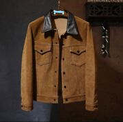 1930and039s Vintage Style Brown Cowhide Suede Leather Natural Cowhide Shirt Jacket Us