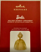 2020 Holiday Barbie Doll Gold Dress Hallmark Christmas Ornament Sold Out
