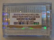 Ngc Certified 2010 American Silver Eagle Roll 20 Oz Gem Unc From Mint Sealed Box