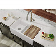 Elkay Swuf3320wh Fireclay 60/40 Double Bowl Farmhouse Sink With Aqua Divide