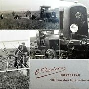 Photo Antique Snapshot Tractor Latil / Harvest After Guerre/farmers No2
