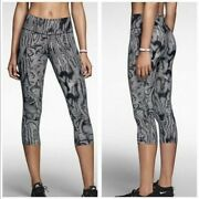 Nike Dri-fit Legendary Black Waves Striped Printed Cropped Leggings Size Small