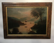 Early Americana Folk Art Oil Hudson River View Over Mantel With Antique Frame