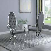 Kitchen Dining Room Chair Gray Faux Leather Stainless Steel Assembled Set Of Two