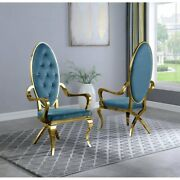Kitchen Dining Room Chair Teal Faux Leather Gold Steel Assembled Set Of Two