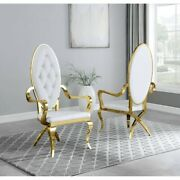 Kitchen Dining Room Chair White Faux Leather Gold Steel Assembled Set Of Two