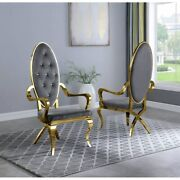 Kitchen Dining Room Chair Gray Faux Leather Gold Steel Assembled Set Of Two