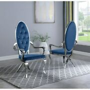 Kitchen Dining Room Chair Blue Faux Leather Stainless Steel Assembled Set Of Two