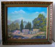 Original Oil Painting Of Adobe Village 1969 By Listed Nm Artist Mary Dennis