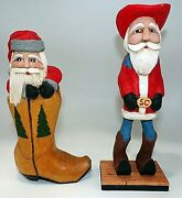 2 Jerry Hammack 2010 Santa Claus Wood Carving Figurines Cowboy And Boot Christmas
