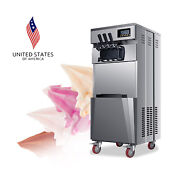 1850w 20l/h Stand Commercial 3 Flavors Ice Cream Machine Stainless Steel Usa New