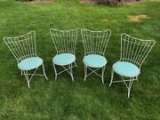 Lot Of 4 Homecrest Vintage Antique Metal Ice Cream Parlor Outdoor Chairs 1978