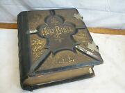 Antique Illustrated Pictorial Leather Bound Family Bible 1884 Blank Pages Fair
