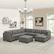 Living Room Furniture 9pcs Large Sectional Sofa Tufted Grey Leatherette Ottoman