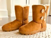 Ugg Australia Womenand039s Boots Classic Two Bailey Buttons Half Chestnut Size 7