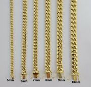 Real Gold Mens Necklace Cuban Link 6mm 7mm 8mm 9mm 10k Yellow Gold Chain 16-30