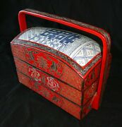 Vintage Chinese Pottery Chard Inset Lunch Box Red And Black Lacquer Hen