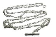Antique French Silver Fancy Swirl Link 55 Long Guard Chain Necklace Watch Key