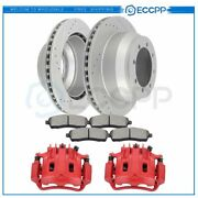 Rear Brake Calipers And Rotors + Ceramic Pads For Ford F-350 Super Duty 1999
