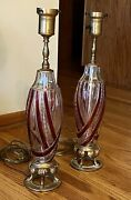 Candy Pair Italian Murano Glass Table Lamps Barovier And Toso Ruby Red Swirl