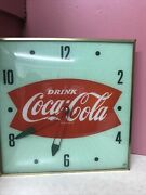 50s Vintage Green Coca-cola Fish Tail Clock Free Gift With Purchase