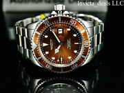 New Menand039s 43mm Pro Diver Submariner Silver Tone Brown Dial 200m Ss Watch