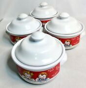 Vintage 1998 Campbell's Soup Bowls Set W/ Lid And Handles - Lot Of 4 Bowls
