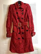 Lace Trench Coat In Parade Red Size Us4 Uk 6 It 38 Nwt 3095