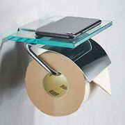 Wall-mounted Bathroom Roll Tissue Rack 2-in-1 Toilet Paper Towel Phone Holder Us