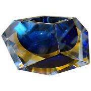 1970s Faceted Blue And Yellow Murano Glass Ashtray By Seguso
