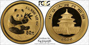 2000 China 50 Yuan People's Republic Panda 1/2 Oz Gold Frosted Pcgs Genuine