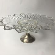 Vintage Duchin Pedestal Cake Stand Sterling Silver Weighted Base Flower Glass