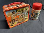 Vintage Lunch Box Emergency Tv Show 1973 Aladdin Firefighter With Thermos