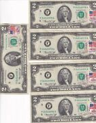 F04016978a 2 Dollar Bill With A Stamped 1976 5 In Consecutive Order Excellent
