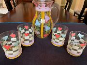 Hand-painted Pitcher And Set Of 4 Glasses